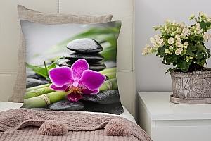 3D Подушка «Орхидея и бамбук»