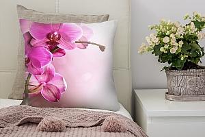 3D Подушка «Розовая орхидея на нежном фоне»