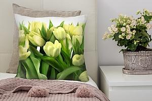 3D Подушка «Нежные желтые тюльпаны»