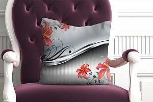 3D Подушка «Красные лилии на серебристом фоне»