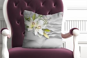 3D Подушка «Лилии на объемном фоне»