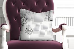 3D Подушка «Одуванчики с квадратами»