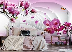 3D Фотообои  «Объемные колонны с цветами»  вид 4