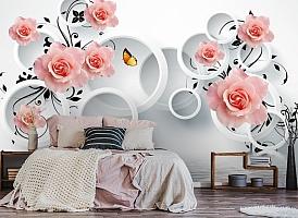 3D Фотообои «Бутоны роз над водой» вид 4