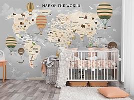 3D Фотообои «Карта мира для детской в пастельных тонах»