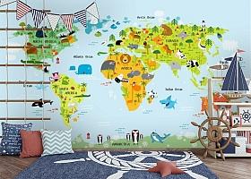 3D Фотообои «Детская карта мира на голубом фоне» вид 8