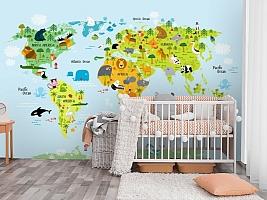 3D Фотообои «Детская карта мира на голубом фоне»