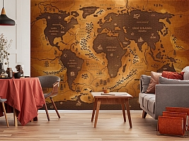 3D Фотообои  «Карта мира в этническом стиле»