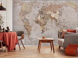 3D Фотообои  «Политическая карта мира в винтажном стиле»