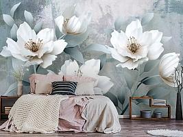 """3D Фотообои  """"Благородные белые цветы""""  вид 5"""