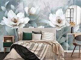 """3D Фотообои  """"Благородные белые цветы"""""""