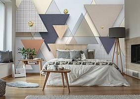 """3D Фотообои  """"Треугольники с золотыми бусинами"""""""