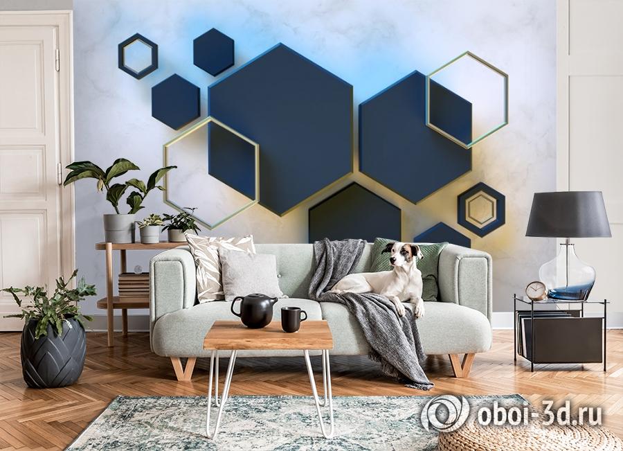 3D Фотообои  «Объемный гексагон» вид 7