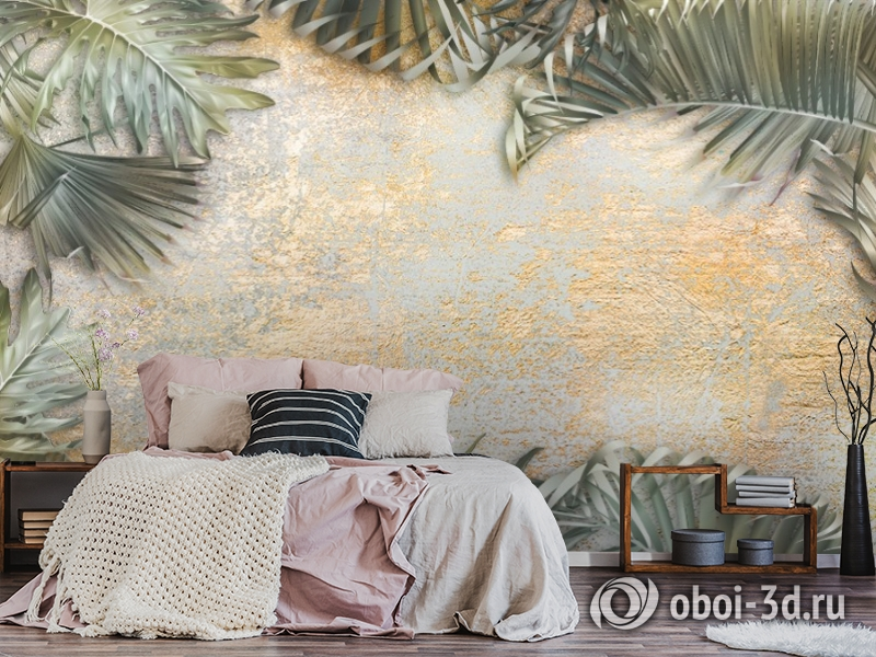 3D Фотообои  «Пальма на золотой штукатурке» вид 5