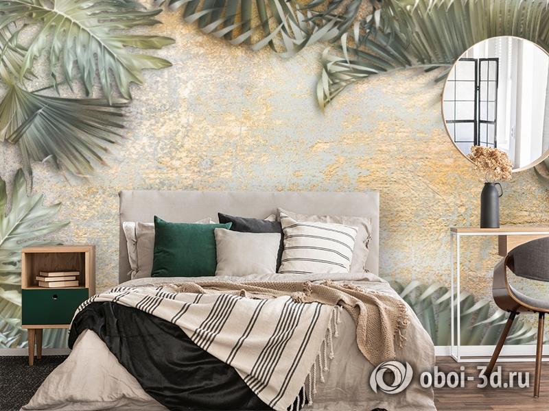 3D Фотообои  «Пальма на золотой штукатурке» вид 4