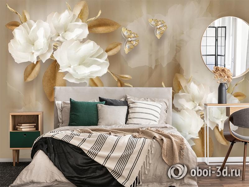 3D Фотообои  «Цветы с драгоценными бабочками» вид 4