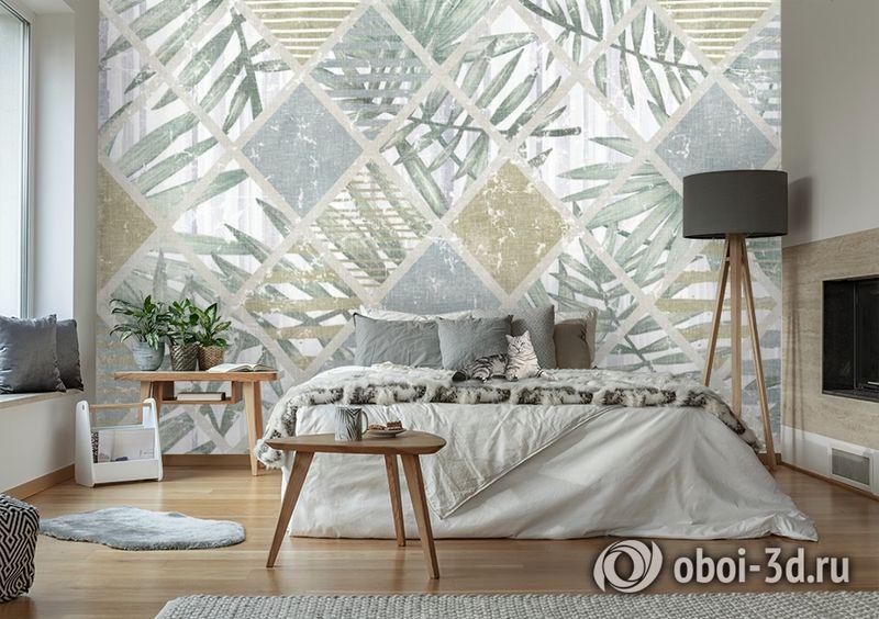 3D Фотообои  «Листья в ромбах» вид 2