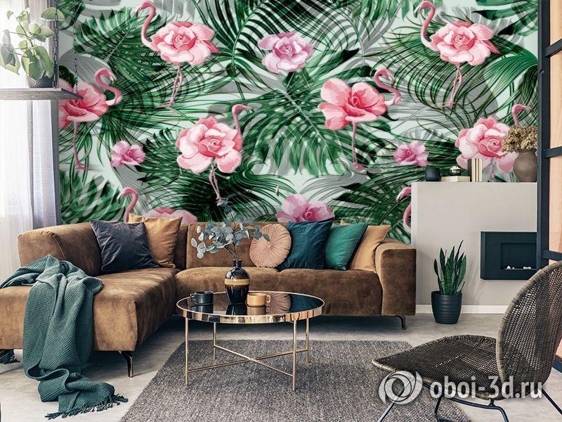 3D Фотообои  «Розовый фламинго с монстерами» вид 4