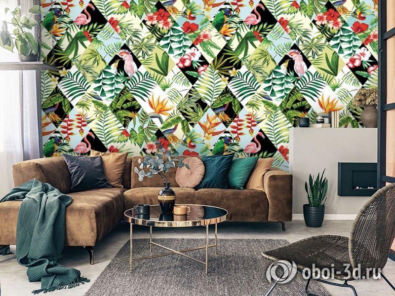 3D Фотообои  «Ромбовидная тропическая композиция» вид 4