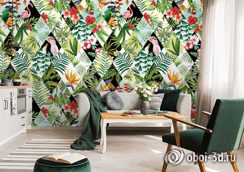 3D Фотообои  «Ромбовидная тропическая композиция» вид 2