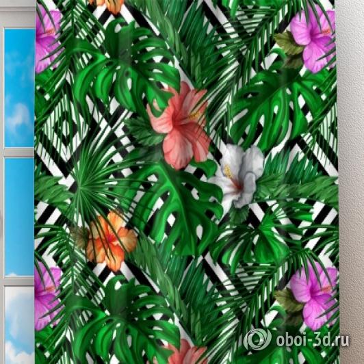 Фотошторы «Листья папоротника с цветами» вид 2