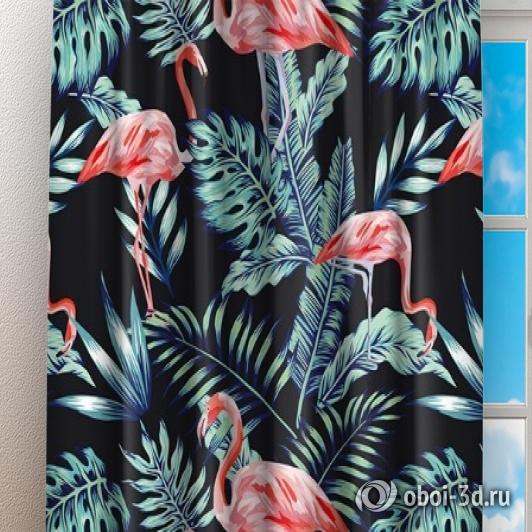 Фотошторы «Тропическая ночь.Фламинго» вид 3