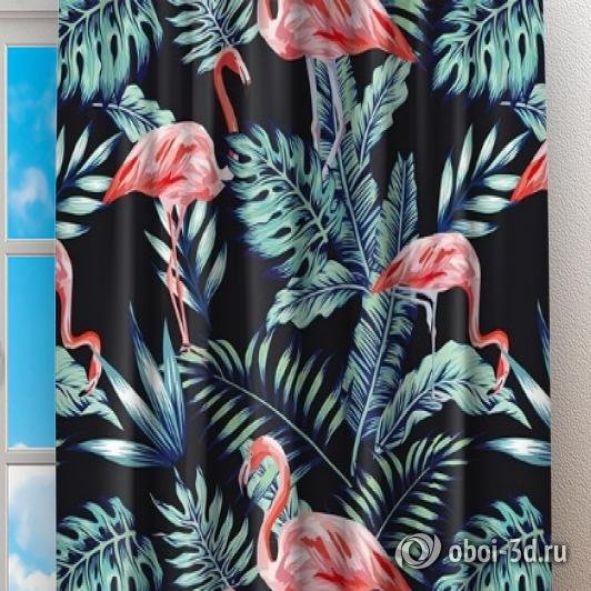 Фотошторы «Тропическая ночь.Фламинго» вид 2