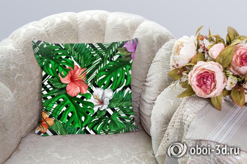 3D Подушка «Листья папоротника с цветами» вид 8