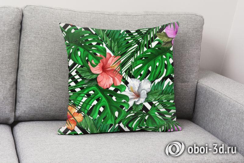 3D Подушка «Листья папоротника с цветами» вид 7
