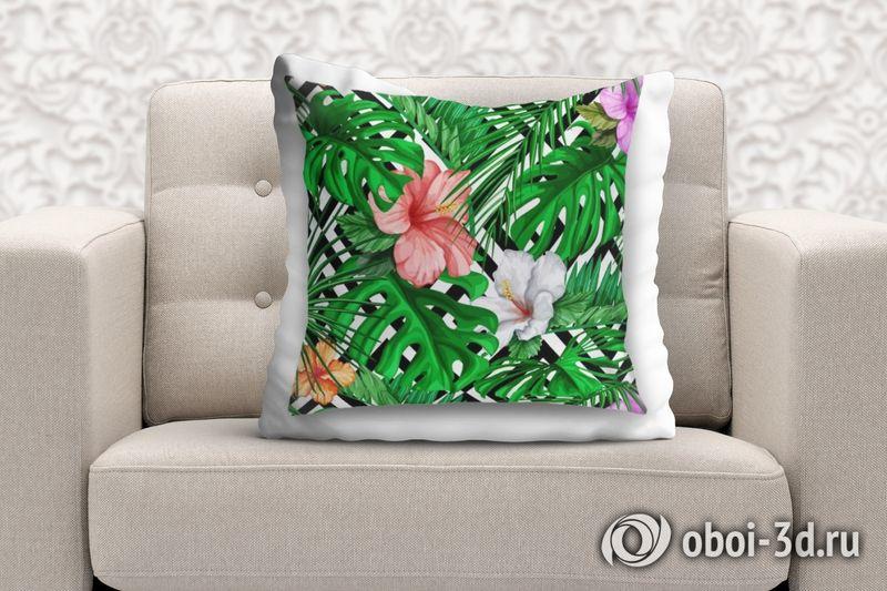 3D Подушка «Листья папоротника с цветами» вид 2