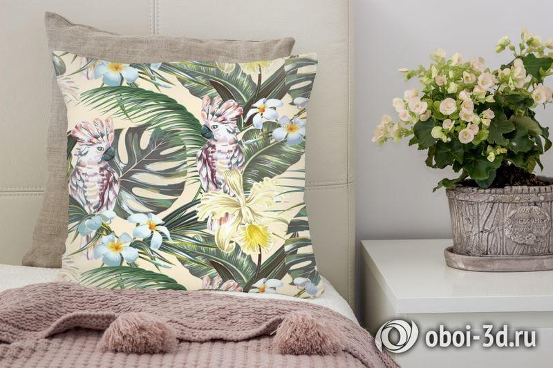 3D Подушка «Какаду в цветущих тропиках»