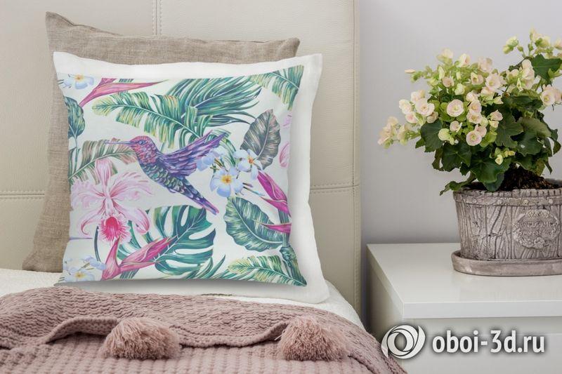 3D Подушка «Колибри с цветами» вид 6