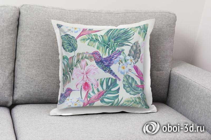 3D Подушка «Колибри с цветами» вид 8