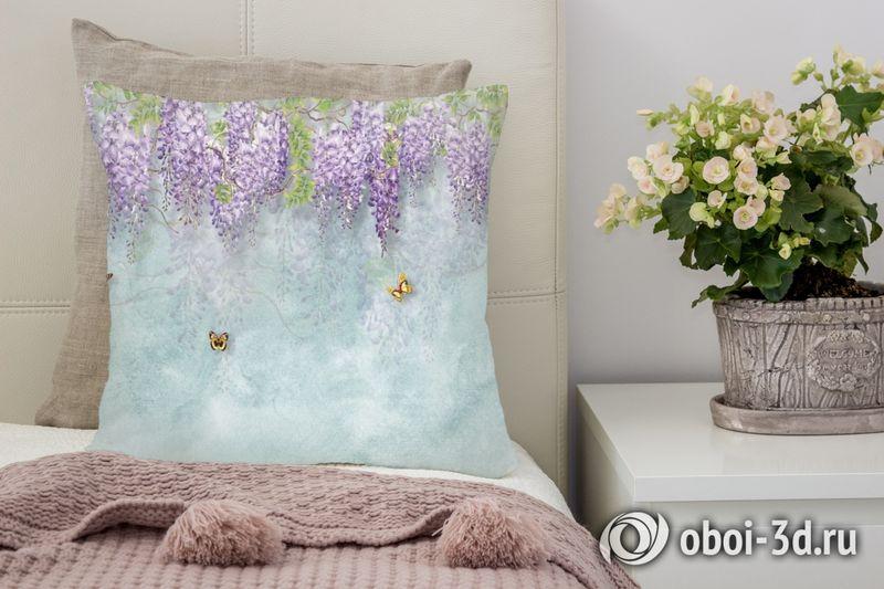 3D Подушка «Сирень с бабочками» вид 4