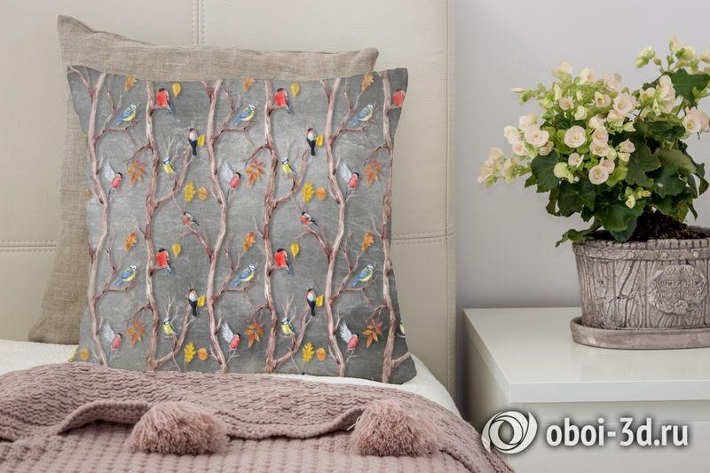 3D Подушка «Осенний этюд с птицами» вид 3