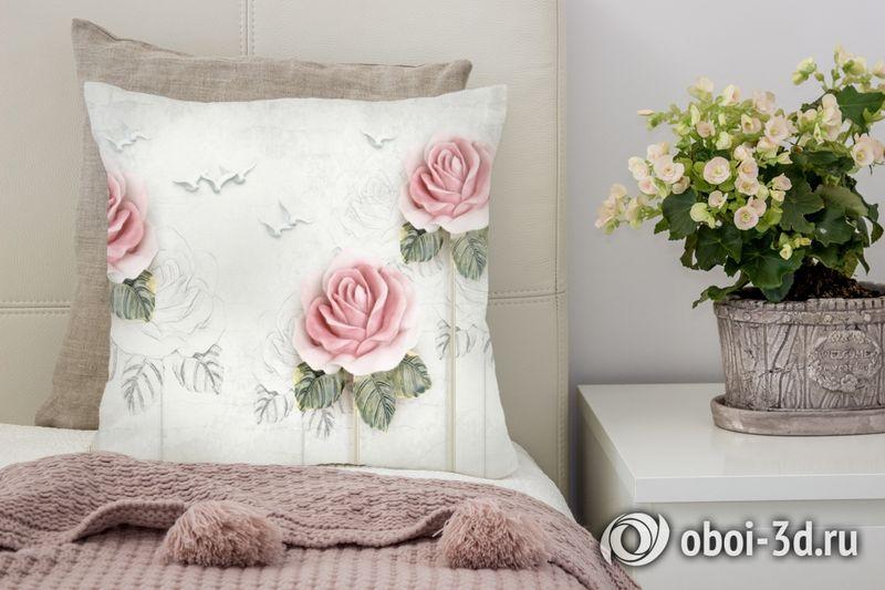 3D Подушка «Оттиск с розами»