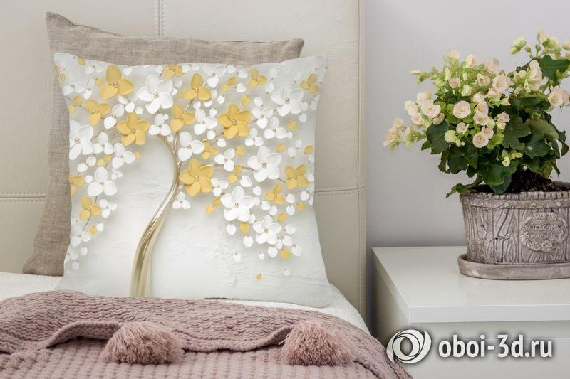 3D Подушка «Листья в золоте»