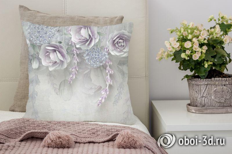3D Подушка «Розы в легком ультрафиолете»