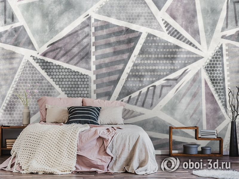3D Фотообои «Стильные треугольники» вид 4
