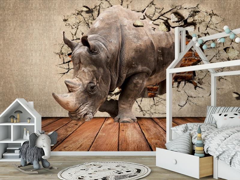 3D Фотообои «Носорог сквозь стену» вид 6