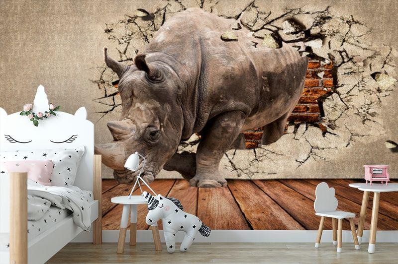 3D Фотообои «Носорог сквозь стену» вид 4