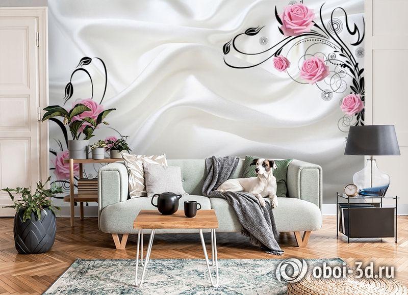 3D Фотообои  «Розы на шелке»  вид 8