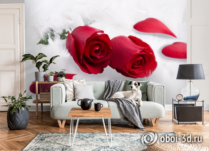 3D Фотообои  «Красные розы в перьях»  вид 8
