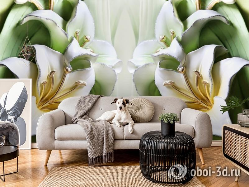 3D Фотообои  «Зеленые лилии из керамики»  вид 5