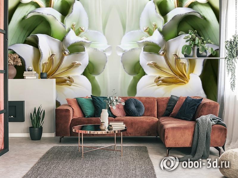 3D Фотообои  «Зеленые лилии из керамики»  вид 4