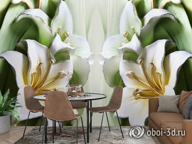 3D Фотообои  «Зеленые лилии из керамики»  вид 3