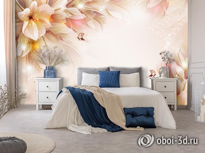3D Фотообои «Волшебные цветы с бабочками» вид 7