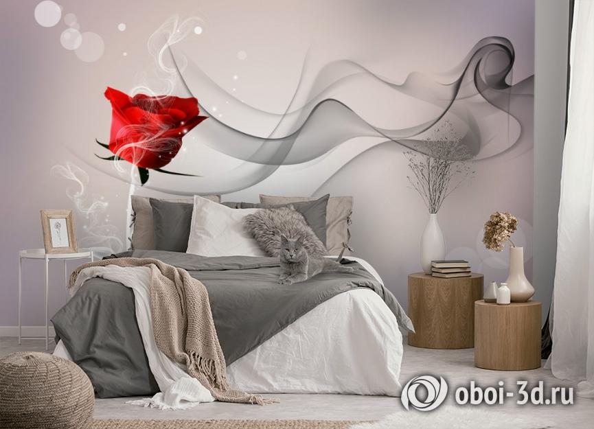 3D Фотообои «Красная роза на сером фоне» вид 5