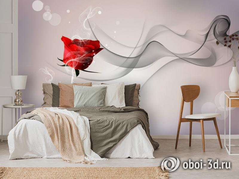 3D Фотообои «Красная роза на сером фоне» вид 3