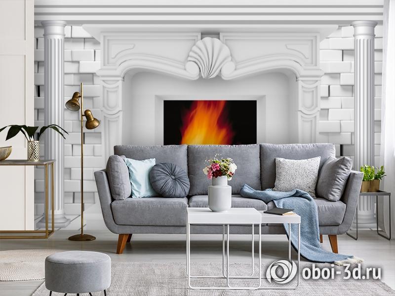 3D Фотообои  «Камин из белого кирпича»  вид 3